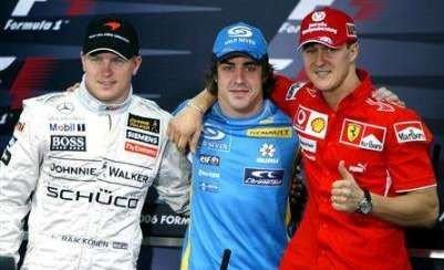 Alonso, Raikkonen y Schumacher