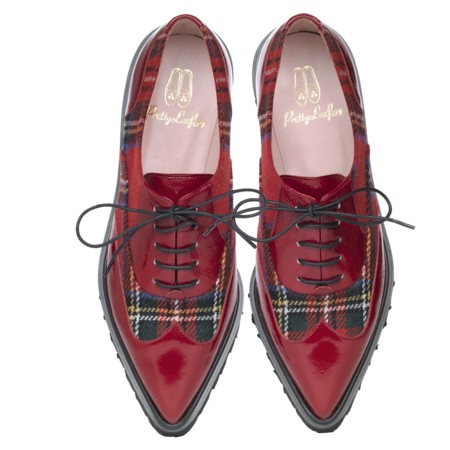 Lena Commando Sole Wing Tip Red Patent And Tartan Pair Pvp 205