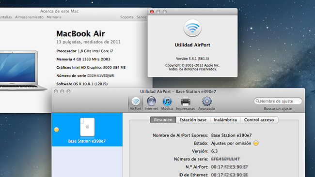 Airport Utility 5.6.1 OS X Mountain Lion MacBook Air