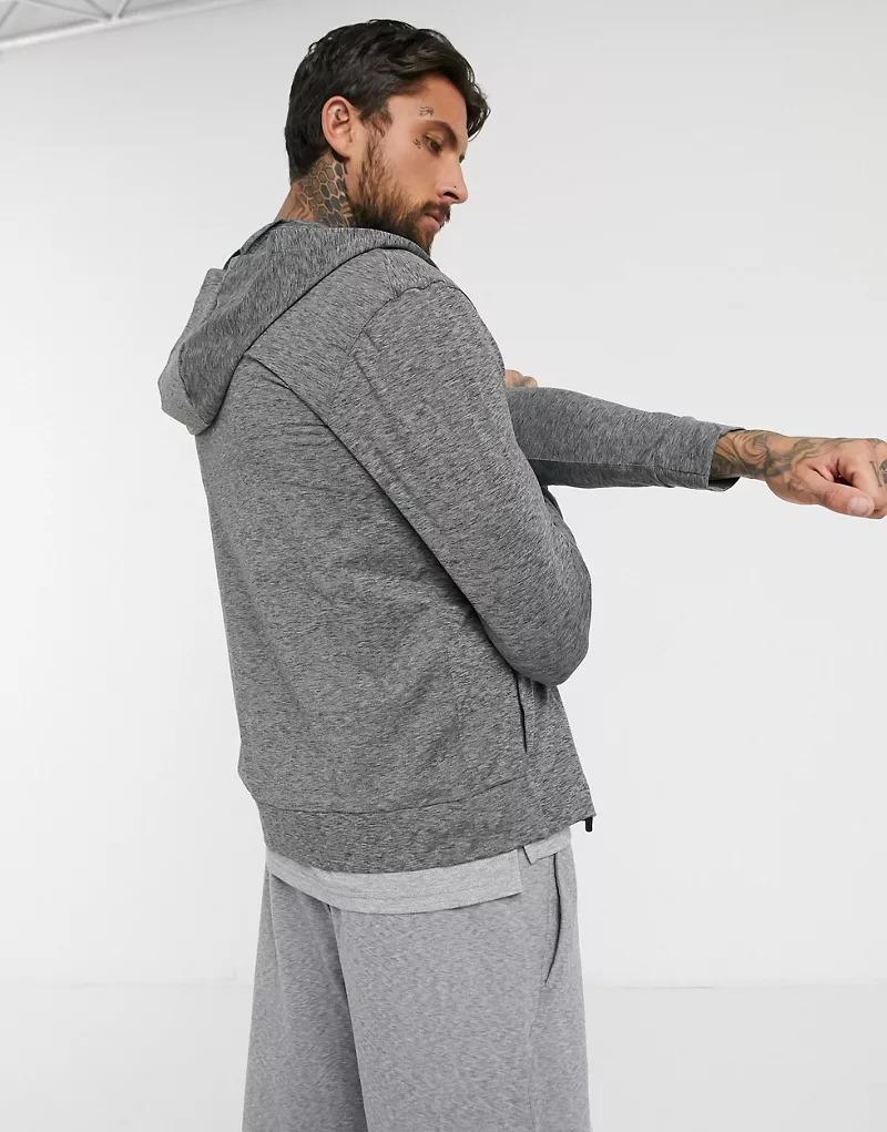 Sudadera con capucha y cremallera en gris oscuro Yoga de Nike