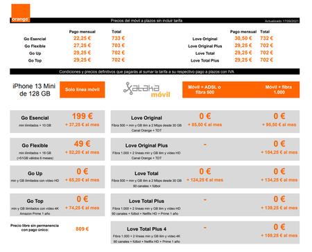 Precios Iphone 13 Mini De 128 Gb Con Pago A Plazos Y Tarifas Orange
