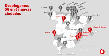Vodafone suma 6 nuevas ciudades 5G y ya dispone de 11 smartphones compatibles