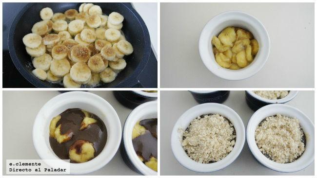 Crumble de plátano y Nutella