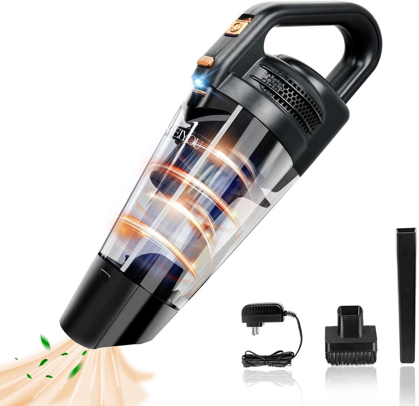 Aspirador de Mano Aspiradora-Coche sin Cable-Potente bateria-Aspiradoras - 9KPA 100W Aspirador de Mano sin Cable Potente con Luz LED y Carga Rápida,Aspirador en Seco y Hmedo para Oficina Hogar y Coche [Clase de eficiencia energética A++]