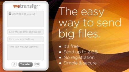 WeTransfer, envía archivos de hasta 2 GB de forma sencilla