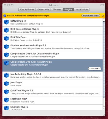 Firefox 3.0 Gestor de complementos