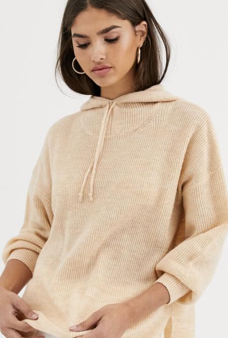Sudadera AsosSudadera con capucha de punto con detalle anudado de mezcla de lana Luxe de Micha Lounge