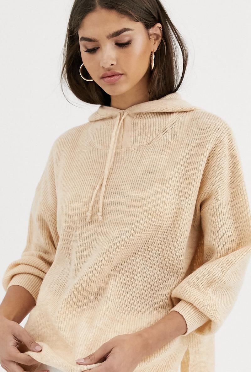Sudadera con capucha de punto con detalle anudado de mezcla de lana Luxe de Micha Lounge