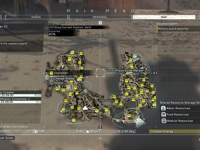 Guía Metal Gear Survive: mapa con la ubicación de todos los contenedores