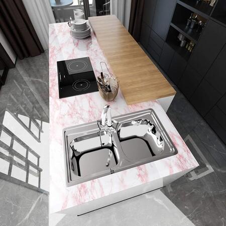 Vinilo efecto mármol rosa