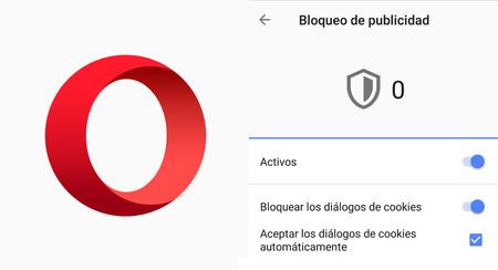 Opera para Android te permite bloquear los avisos para que aceptes cookies y políticas de privacidad