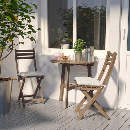 conjunto mesa y sillas madera terraza ikea