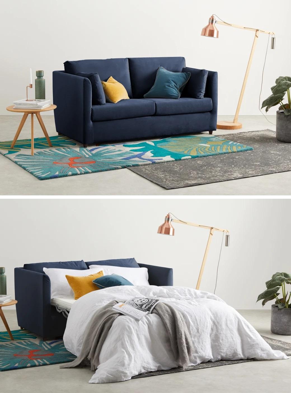 Sofá cama de dos plazas en viscolástica