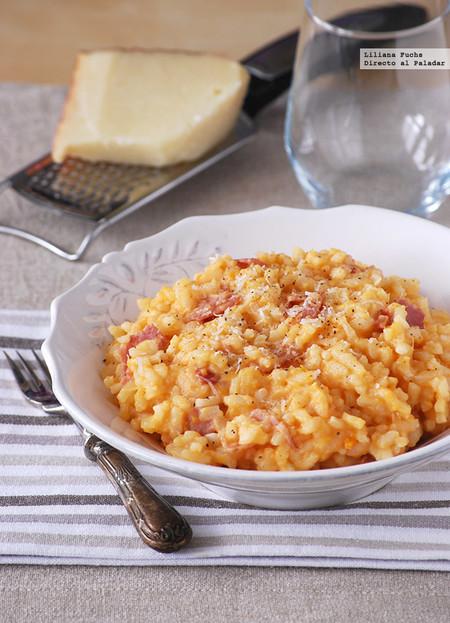 Risotto de boniato con queso curado de cabra: receta melosa otoñal