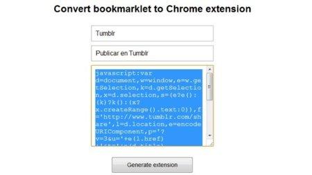 Convierte cualquier bookmarklet en una extensión de Chrome