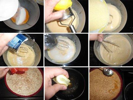 Preparación del Kibrizli o Tarta de almendras