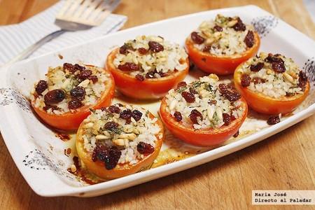Receta de tomates rellenos de arroz con pasas y piñones