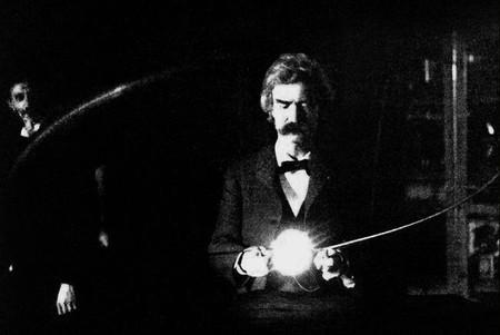 Twain en el laboratorio de Nikola Tesla (1894)