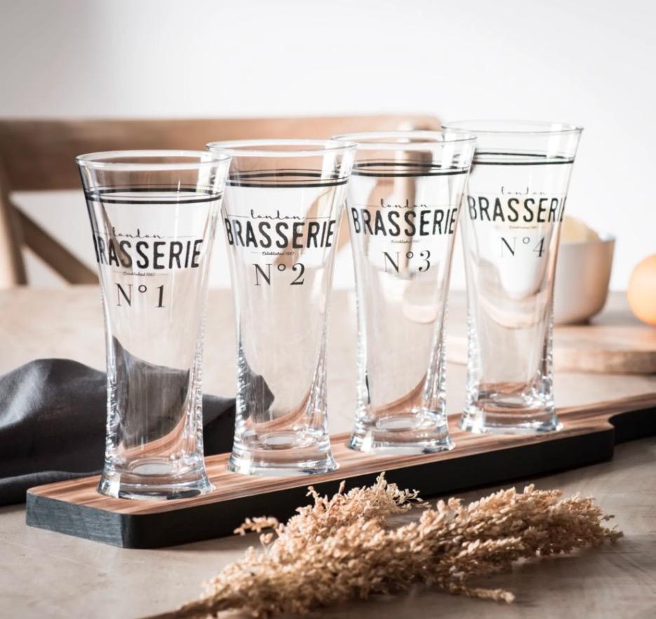 Bandeja de cristal con 4 vasos de cerveza Brasserie