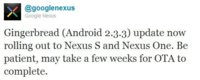 Nexus One y Nexus S empiezan a recibir Android Gingerbread 2.3.3
