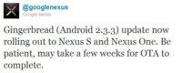 Nexus One y Nexus S empiezan a recibir Android Gingerbread 2.3.3