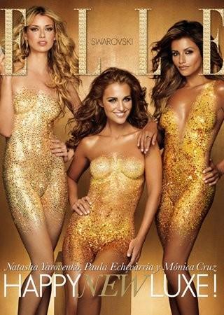 Paula Echevarría, Mónica Cruz y Natasha Yarovenko portada de Elle con cristales de Swarovsky