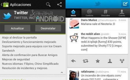 Twitter se actualiza con soporte para Ice Cream Sandwich