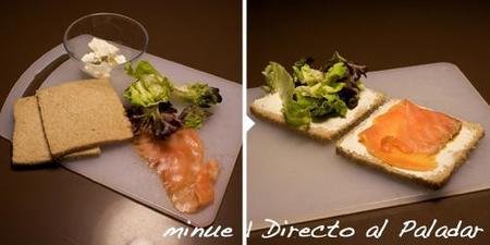 comida para llevar - sándwich de salmón ahumado-preparación
