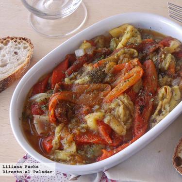 Receta de ensalada de verduras asadas con aliño de cítricos, como guarnición o cena ligera