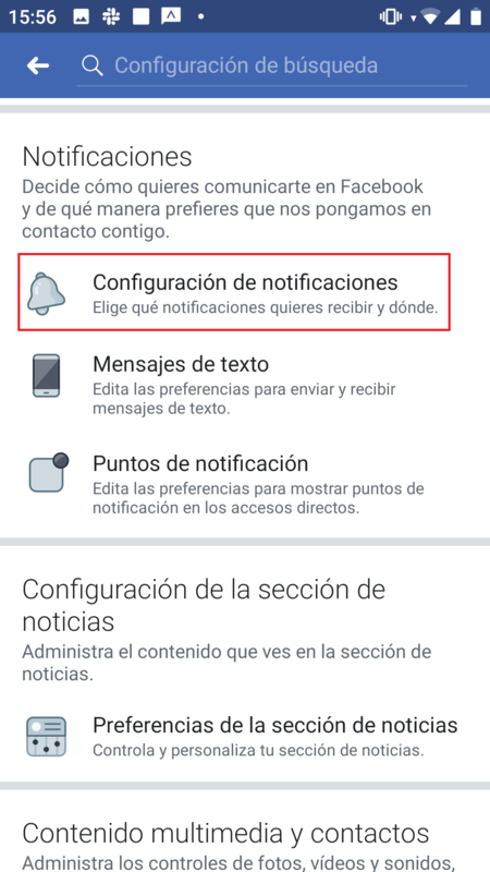 Notificaciones Facebook