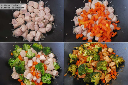 Wok de pollo a la naranja con verduras. Pasos