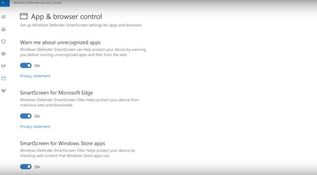 Windows Defender Security Center 3