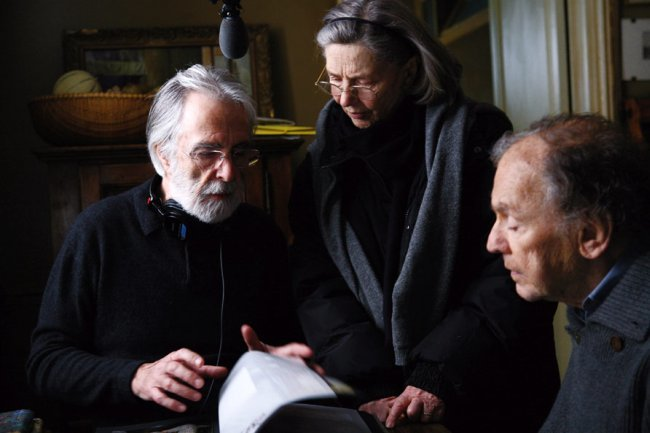 Haneke, Riva y Trintignant durante el rodaje de Amor