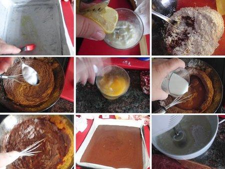 Receta de bizcocho de chocolate con crema de queso dulce
