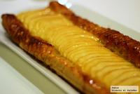 Banda de manzana y crema de pistachos. Receta