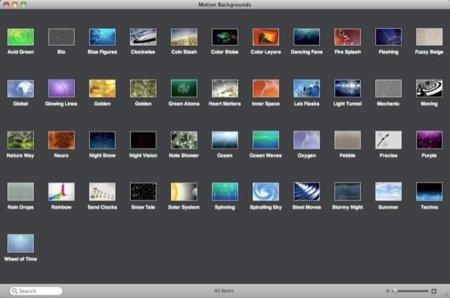 Aplicación para la selección de temas en Motion Background