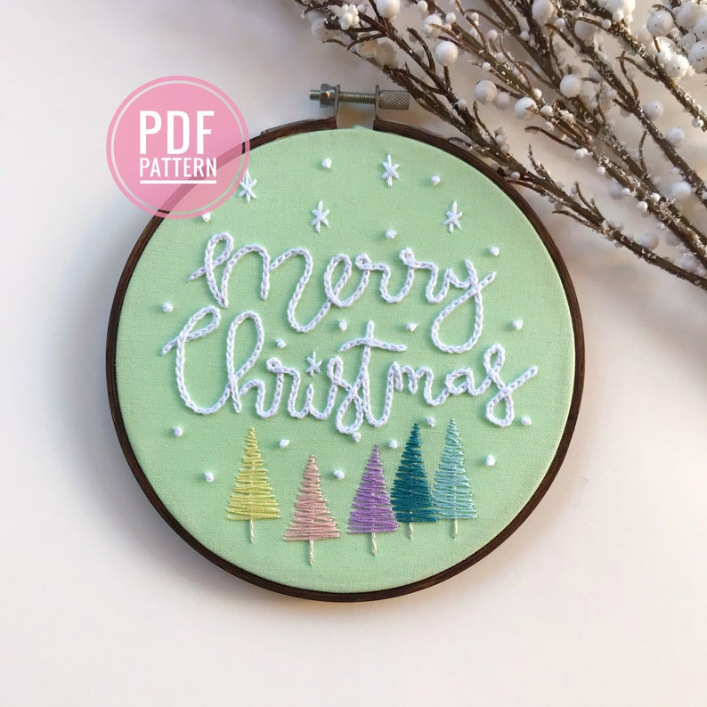 PDF Pattern: Retro Pastel Christmas Trees, Retro Christmas, Beginner Embroidery, Easy Embroidery, Christmas Embroidery Pattern, Needlecraft