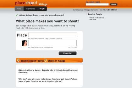 PlaceShout, opiniones de lugares geolocalizadas en formato microblogging