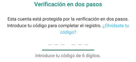 Verificacion en dos pasos de WhatsApp