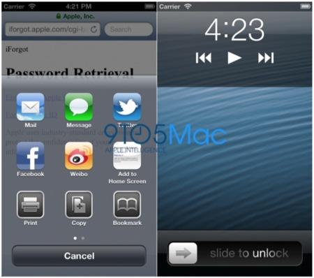 Capturas de pantalla de como se mostraría iOS en una pantalla de 4 pulgadas
