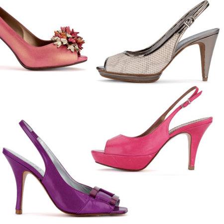 Zapatos seductores, peep,toe y de plataforma para que resulten más cómodos,  en multitud de colores amarillos, naranjas y rosas de altísimos tacones,
