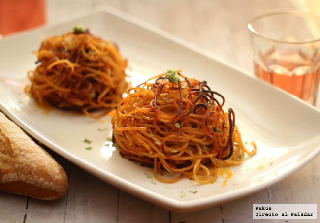 espaguetis crujientes