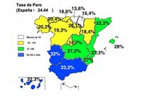 Andalucía, Extremadura y Canarías: 1 de cada 3 ciudadanos en paro (mapa paro por CCAA)