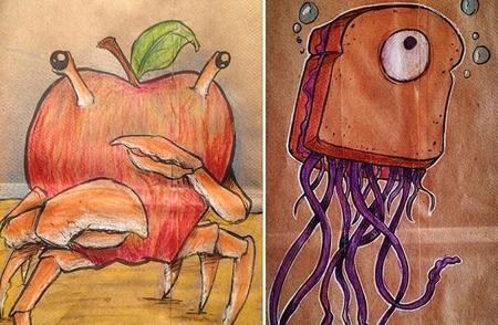 Un padre decora las bolsas del almuerzo de su hijo con personajes animados