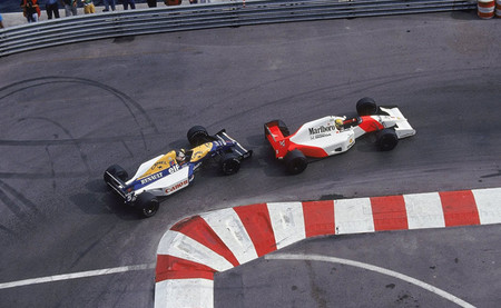 Ayrton Senna y Nigel Mansell chicane Mónaco 1992