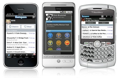 foursquare apple iphone google android blackberry