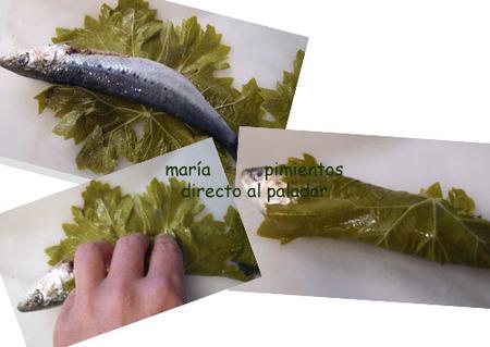 Envolvemos las sardinas en las hojas de parra