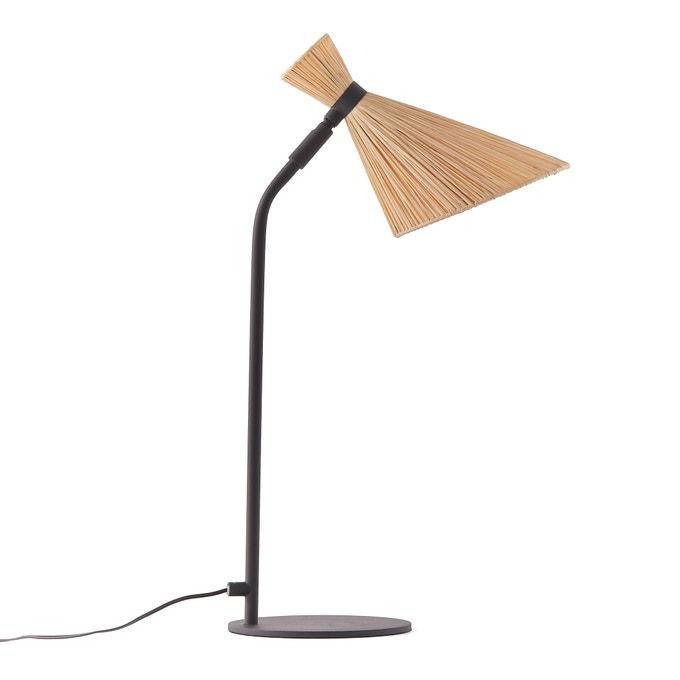 Lámpara de pie de metal y rafia, Rozza