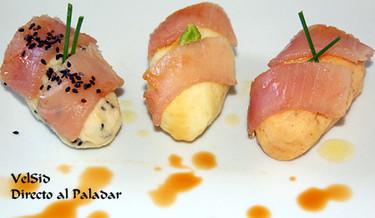 Trío de nigiris de patata y atún
