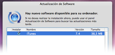 Nueva actualización de iTunes 7.4 disponible